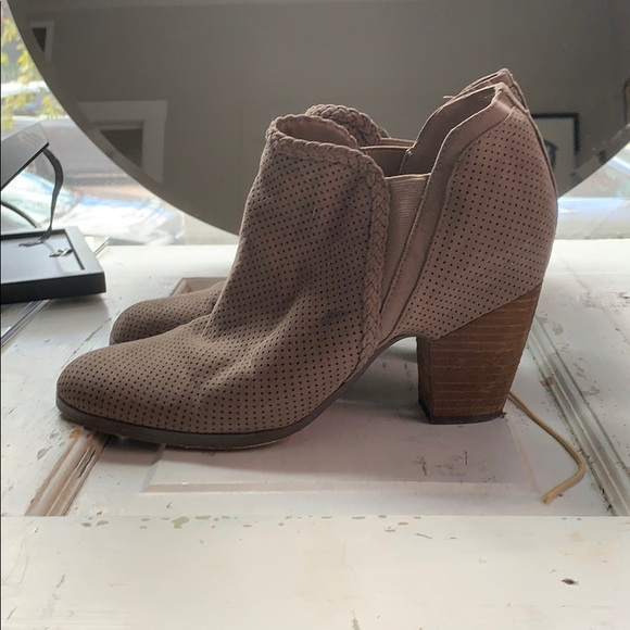 Beige heeled ankle booties, perfect for fall